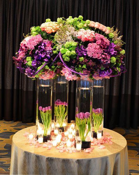 Purples and greens opulence, Wedding Centerpiece ~ Empty Vase