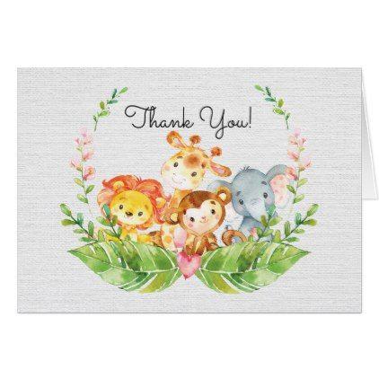 Cute Safari Jungle Baby Shower Thank You Note Card - shower gifts diy customize creative