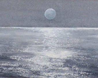 Aquarelle Originale De La Pleine Lune Veille Sur La Mer Calme