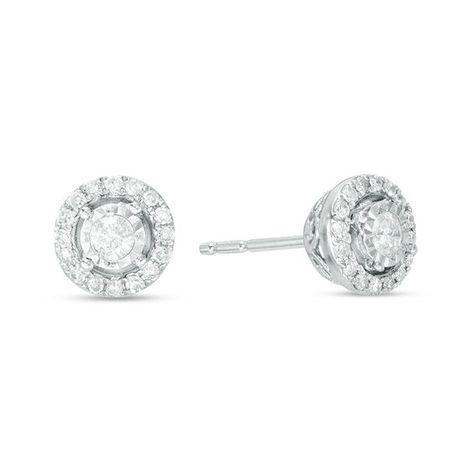 1 4 Ct T W Diamond Frame Stud Earrings In 10k White Gold Stud Earrings White Gold Diamond Studs