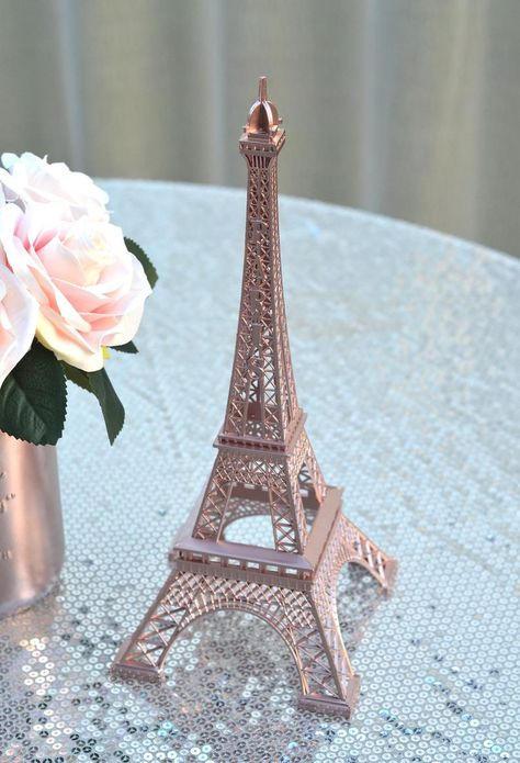 The magnifique design of these french inspired Eiffel Towers are sure to be eye catching at your Paris themed soirée wedding or party! Most commonly used as event table decor, we Rose Gold Room Decor, Rose Gold Rooms, Gold Bedroom Decor, Paris Room Decor, Rose Gold Bedroom Accessories, Paris Bedroom, Bedroom Wall, Bedroom Ideas, Eiffel Tower Cake
