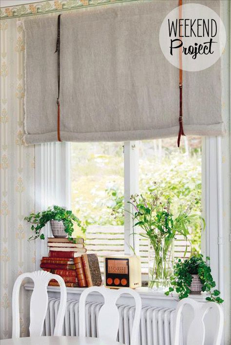 Linen + Leather Belt Curtains #easy #DIY