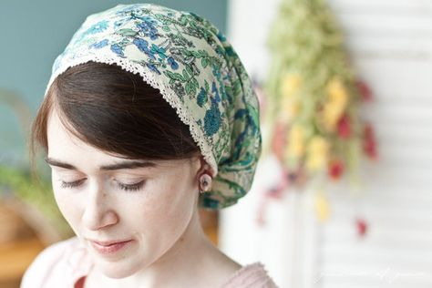 Cotton lace and Juniper flowers victorian snood by GarlandsOfGrace, $22.00