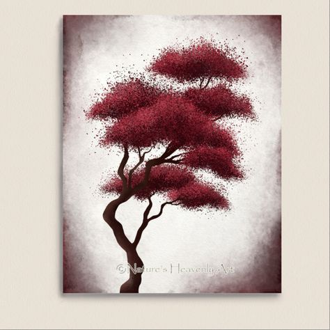 Red Wall Décor Abstract Tree Print 11 x 14 by NaturesHeavenlyArt, $20.00