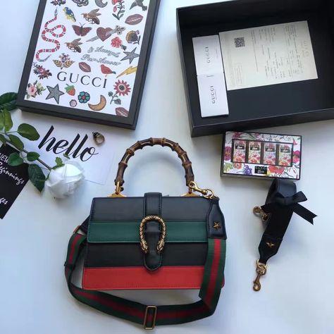 8a6eeedcdaac61 Gucci Dionysus Leather Bamboo Top Handle Bag 448075 Black/Green/Red 2016