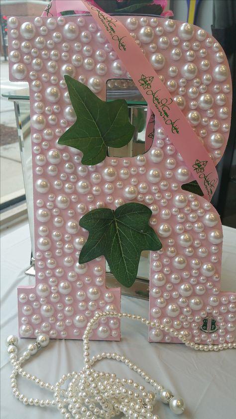 Custom Wood letter with Ivy, custom ribbon, and AKA crest www.sororitique.com