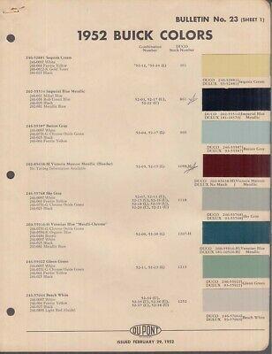 Du Pont 1952 Buick Color Chip Sheets Set Of Three In 2020 Color Chip Color Color Coding