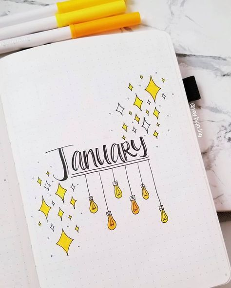 #bullet #Cover #Ideas #January #Journal #Lovely 15 Lovely January Cover Ideas For Your Bullet Journal        These January cover layout ideas will truly inspire you to take your creativity and art skills to a whole new level for your 2019 Bullet Journal.