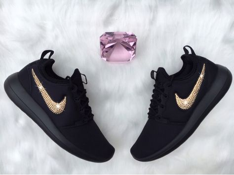 online store e4223 ef079 Bling Nike Roshe Two Shoes Customized With GOLD by ShopPinkIvy