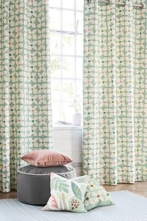 Retro Geo Floral Eyelet Lined Curtains Lined Curtains Curtains Floral Curtains