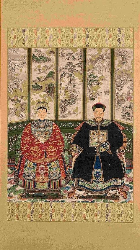 A Chinese ancestor double portrait, late 19th/early 20th century