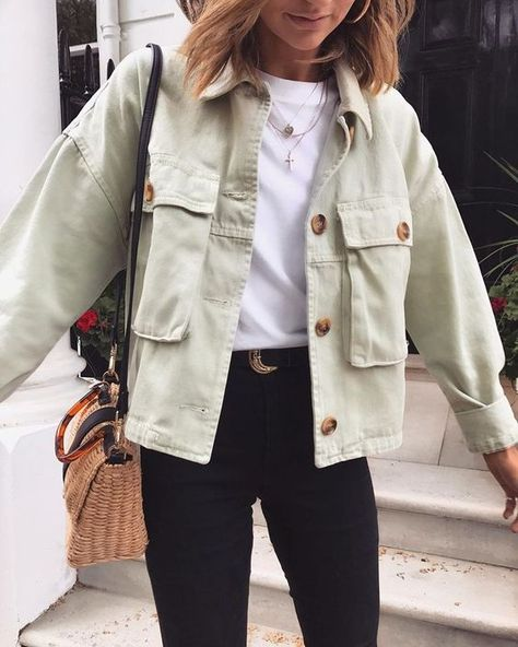 Oversized Boyfriend Cool Big Pockets Button Up Shirt Jacket Womens