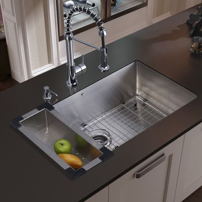 Vigo 30 Inch Undermount Single Bowl 16 Gauge Stainless Steel Kitchen Sink With Edison Chrome Fa Farmhouse Sink Kitchen Edison Kitchen Faucet Steel Kitchen Sink