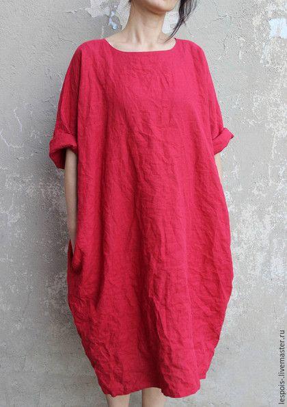 Платья ручной работы. Ярмарка Мастеров - ручная работа. Купить Льняное  платье. Handmade. Бордовый, черный, сшить платье на заказ 21238a83f43