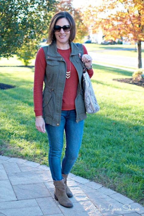 Everyday Fashion Fashion Over 40 Daily Mom Style Utility Vest + Red Sweatshirt Tee with Jeans and Ankle Boots
