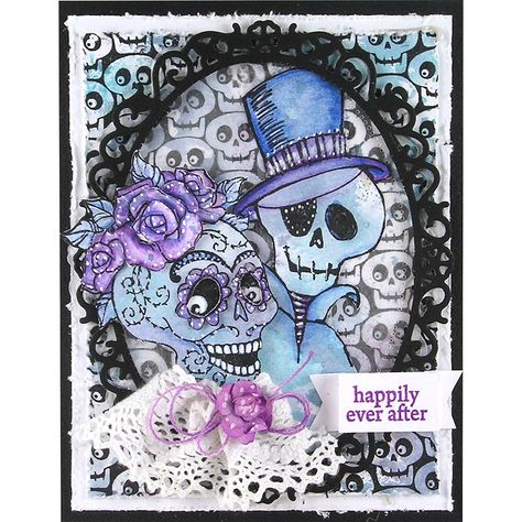 Create a fun and funky anniversary card for an October Anniversary or Wedding using the skulls or skeletons.