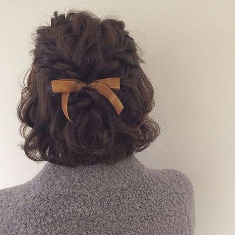 Short Hairtyles 2018 Haarzöpfe 23 Styles for Short Curly Hair Braids For Short Hair, Short Hair Cuts, Hairstyle Short, Long Braids, Pixie Cuts, Short Pixie, Hairstyle With Bow, Fancy Short Hair, Short Hair Girls