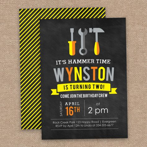 Tool 2nd Birthday Invitation Construction Theme by JessicasInvites