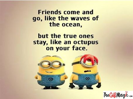 Friends Come And Go Like Waves Of The Ocean But True Friends Are Like An Octopus On Your Face Happy Fri Funny Minion Quotes Funny Minion Memes Minions Funny
