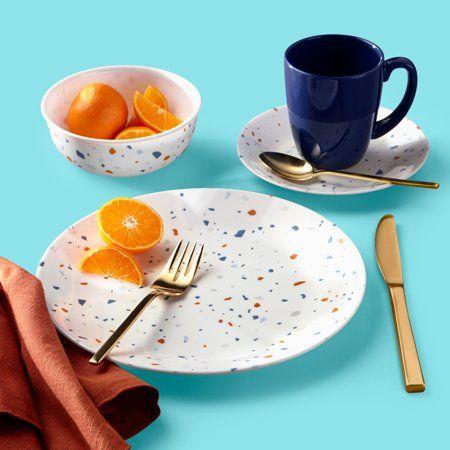Terrazzo Beige Grey Dining Dinnerware set for 4