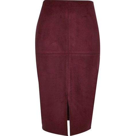dd014c379f River Island Dark red faux suede pencil skirt ($35) ❤ liked on Polyvore  featuring skirts, юбки, red, river island, purple skirt, knee length  pencil ...