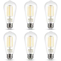 Ascher E26 Led Light Bulbs 6w Equivalent 60w 800lm White 5000k St58 Edison Bulb Vintage Filament Clear Gla In 2020 Industrial Lamp Vintage Industrial Light Bulbs