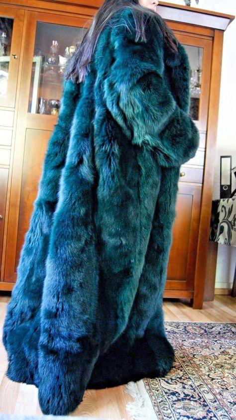 XXXL Blaufuchs smaragd grün fox Volpe Renard Fuchsmantel Pelzmantel Pelz   eBay