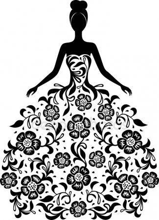 Cicek Susleme Siluet Ile Elbiseli Kiz Silhouette Art Silhouette Vector Mandala Design Art
