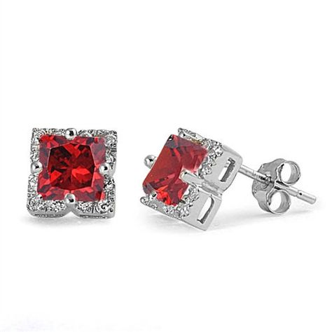 925 Sterling Silver Rhodium-plated CZ 8mm Princess Square Post Earrings