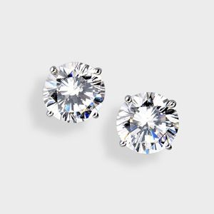 1 Tcw Round Cubic Zirconia 10k White Gold Stud Earrings At