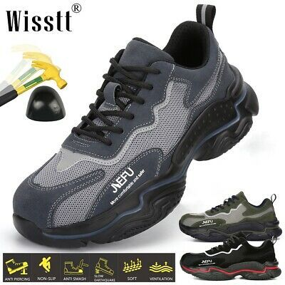 Mens Lightweight Safety Shoes Steel Toe Cap Work Boots Trainers Hiking Sneakers
