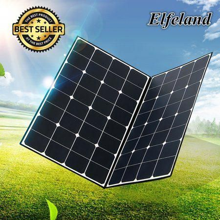 Elfeland 18v 160w Folding Monocrystalline Flexible Solar Panel Battery With Diy Accessories One To Two Mc4 Connector For Home Rv Boat Black Solarenergy Solarp In 2020
