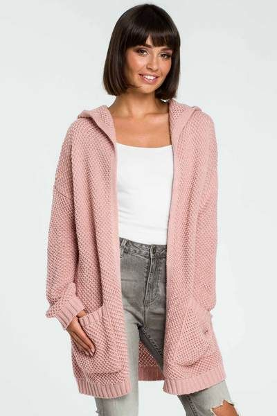 Womens Chunky Waffle Open Front Pocket Top Ladies Cable Knit Boyfriend Cardigan
