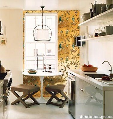 Chinoiserie Metallic Gold Wallpaper And Classic X Stools! I Love That This  Tiny Kitchen And Dining Area DOES NOT Lack On Style.