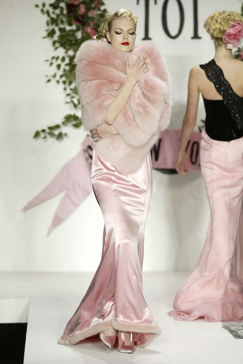 fur-trimmed pink satin gown + pink fur bolero Zang Toi couture ill take it all in a softer paler pink loue fur dress body form silk shoes