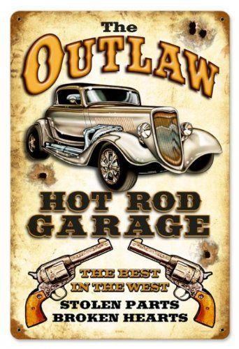 Vintage Automotive Signs Outlaw Garage Automotive Vintage Metal