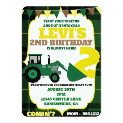 Tractor Theme Invite Zazzle