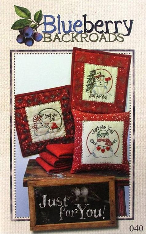 Blueberry Backroads Just For You 040 Snowmen Hand Embroidery