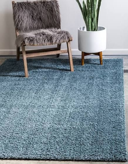 Blue High Pile Area Rug With Images