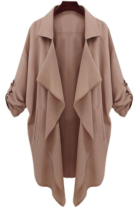 Long Sleeve Solid Color Trench Coat