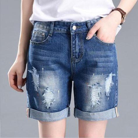 5fb101760d9 Women Summer Denim Shorts Lady Ripped Hole Jean Shorts Fashion Ink Dot  Ornament Casual Style Slim Shorts Plus Size 5XL