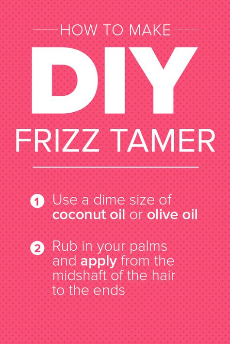 Make your own DIY frizz tamer by simply using coconut oil or olive oil. It's so easy and affordable to tame your mane.