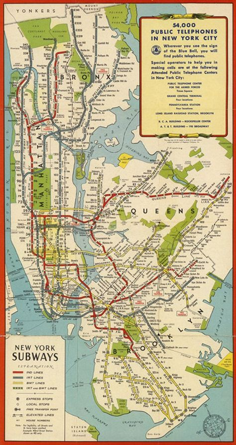 """thefuturemappingco: """" HISTORIC NEW YORK SUBWAY MAPS """" """" The New York City subway system has undergone many changes in its almost history."""