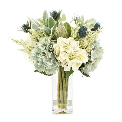Hydrangeas Floral Arrangement In Glass Vase Artificial Flower Arrangements Floral Arrangements Flower Arrangements