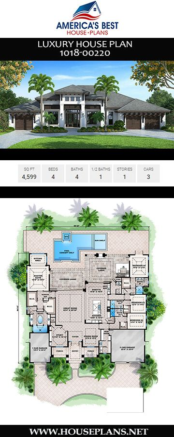 House Plan 1018 00220 Luxury Plan 4 599 Square Feet 4 Bedrooms 4 5 Bathrooms Luxury House Plans House Plans In Law Suite