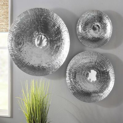 3 Oversized Steel Decorative Plate Set Silver Wall Decor Silver Wall Art Metal Wall Art Large decorative plates for the wall