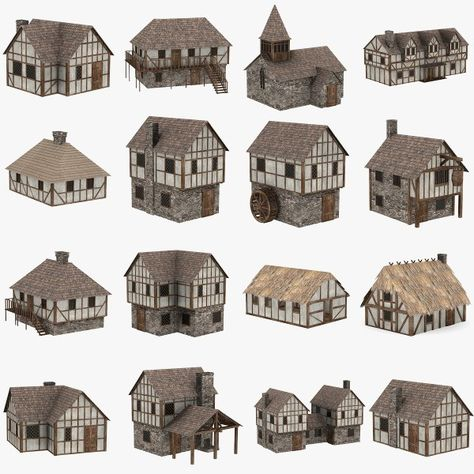 medieval houses max - Minecraft World Vila Medieval, Medieval Houses, Medieval Town, Medieval Castle, Minecraft Medieval House, Medieval Art, Medieval Fantasy, Minecraft Designs, Minecraft Projects
