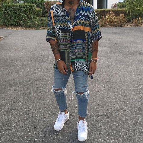 Hipster mens fashion - Men's Hawaiian Style Vintage Printing Loose Shirt