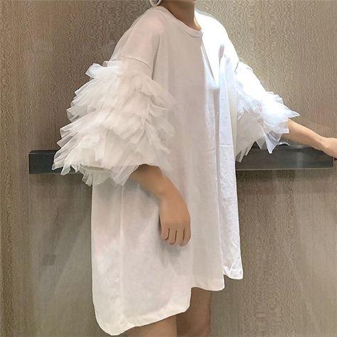 Oversized Short Puff Sleeve Mesh Cotton Korean Style Top