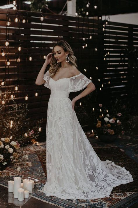 Shop our new Desiree all lace off-the-shoulder wedding dress with sleeves. Cut in a flattering shape; Boho Wedding Dress, Dream Wedding Dresses, Boho Dress, Dress Lace, Off Shoulder Wedding Dress Bohemian, Wedding Dress Sheath, Flattering Wedding Dress, Delicate Wedding Dress, Budget Wedding Dress